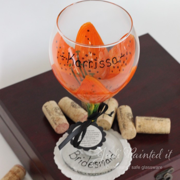Tiger Lilly Orange Stargazer Hand Painted Wine Glass