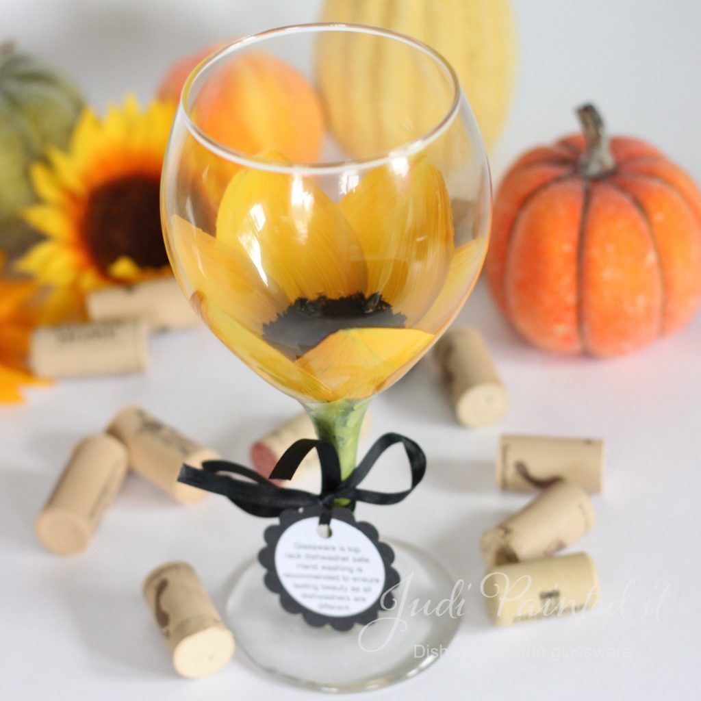 Sunflower wine glass hand painted by judi painted it 1 for Paint vino