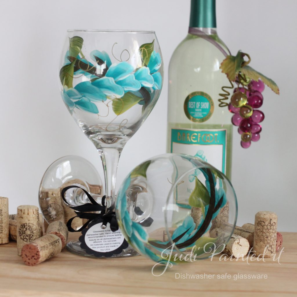 Best Dishwasher For Wine Glasses Aqua Wrap Around Wine Glass Hand Painted By Judi Painted It