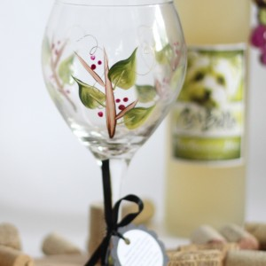 Seasonal Berry and twig wine glass
