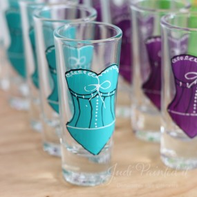 Corset double shot glasses in Aqua