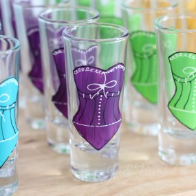 Corset double shot glasses in red violet purple