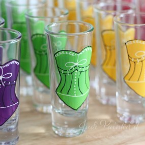 Corset double shot glasses in lime green