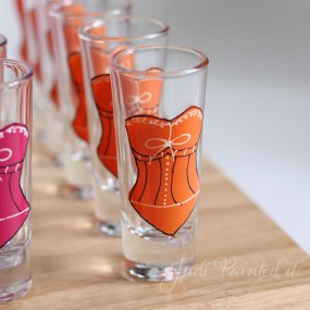Corset double shot glasses in pure orange