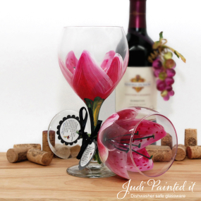 hand painted wine glass magenta stargazer