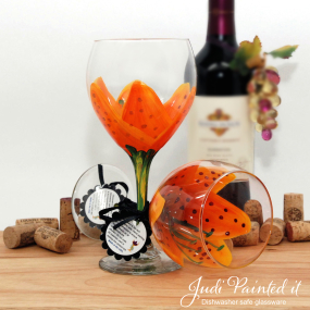 tiger lilly hand painted wine glass