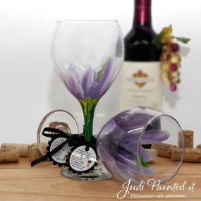 hand painted purple hibiscus wine glass