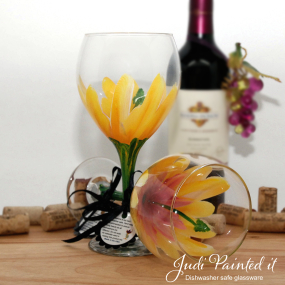 hand painted pink wine glass