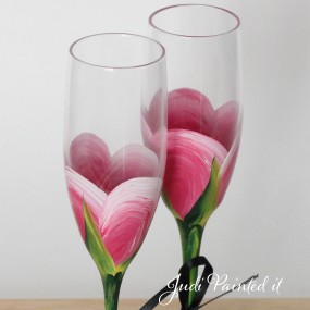 P. Pink rose bud champagne flute