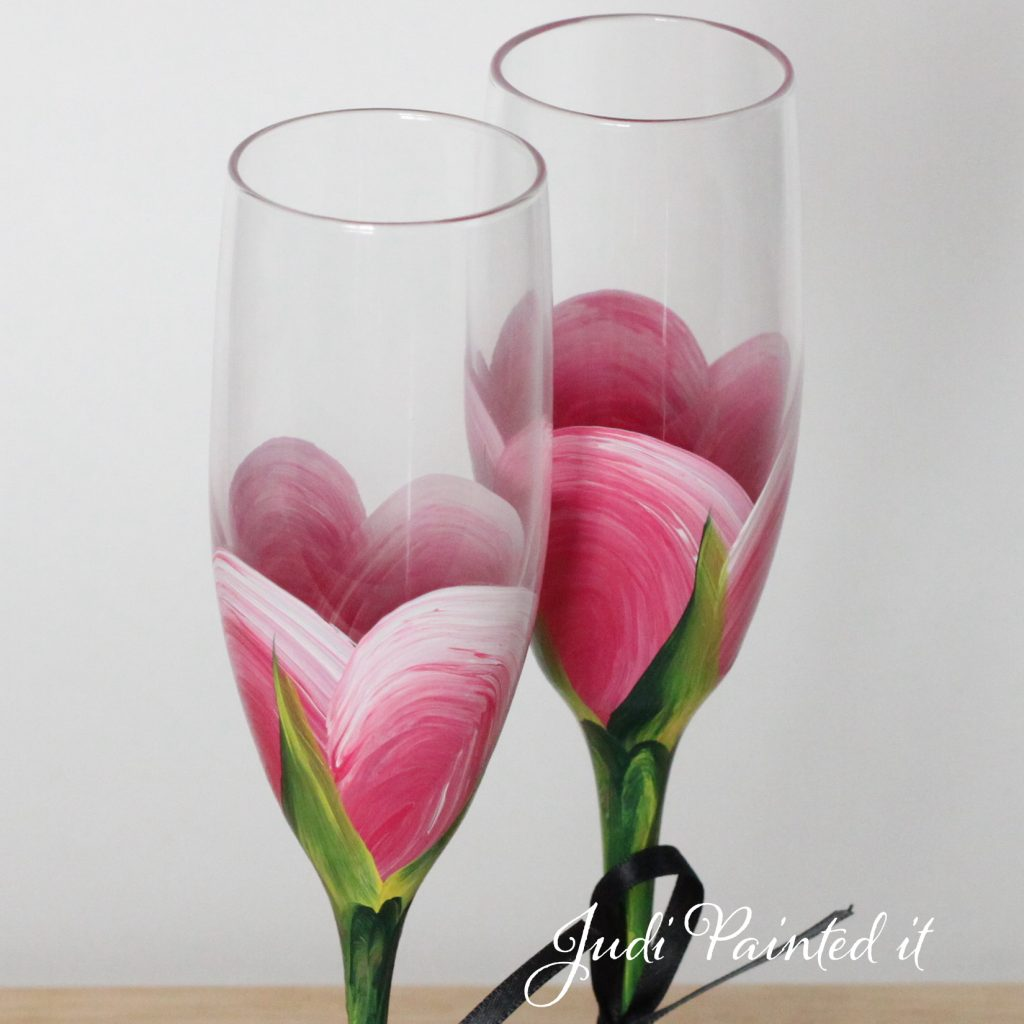 Hand Painted Champagne Flutes by Judi Painted it
