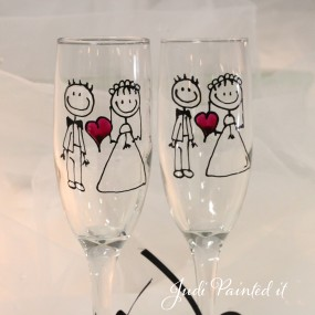 Wedding flutes for the Bride and Groom