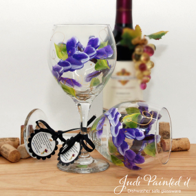 painted wine glass purple wrap