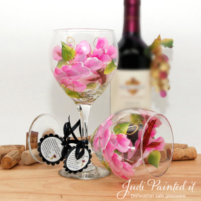 painted wine glass pink wrap