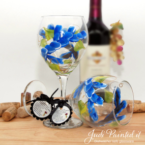painted wine glass blue wrap