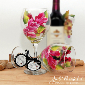 hand painted magenta wrap wine glass