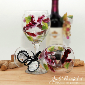 hand painted wine glass berry wrap