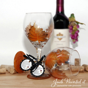 Pure orange leaf wine glass