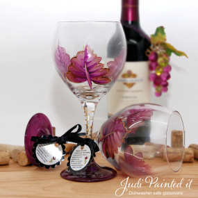 Red violet leaf wine glass