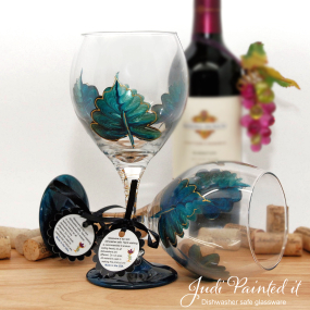 Cerulean blue leaf wine glass