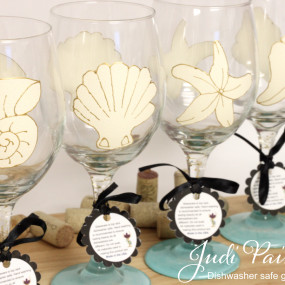 Beach theme wine glasses